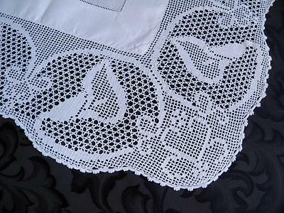 Antique Linen Tablecloth Wide Filet Crochet Lace Calla Lily c1900
