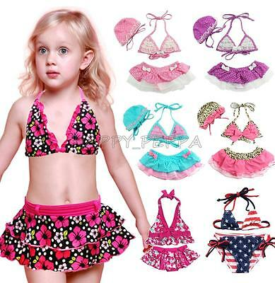 Baby Girls Kids Toddler Bikini Sets Swimming Swimsuit Bathers Suit Beachwear 1-8