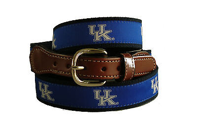 University of Kentucky Wildcats Leather Canvas Ribbon Embroidered Belt pick size
