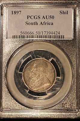 South Africa 1897 Shilling PCGS AU 50  *FREE US SHIPPING*
