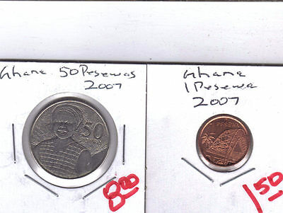 From Show Inv. - 2 NICE UNC. COINS from GHANA - 1 & 50 PESEWAS (BOTH 2007)