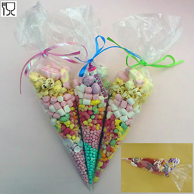 50 Party Cone Clear Cello Bags Sweet Candy Cones large Kids Birthday Wedding