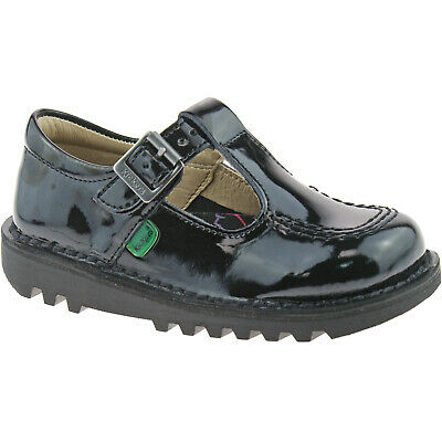 Girls Infants Kickers Kick T Black Patent Leather School Shoes 1-12531