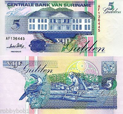 SURINAME 5 Gulden Banknote World Money South America Currency BILL p136b Note