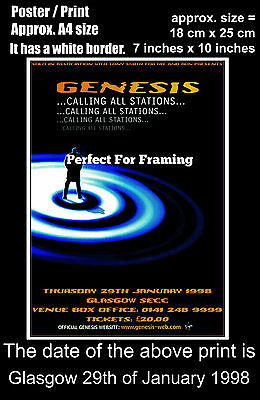 Genesis live concert at Glasgow SECC 29th of January 1998 A4 size poster print