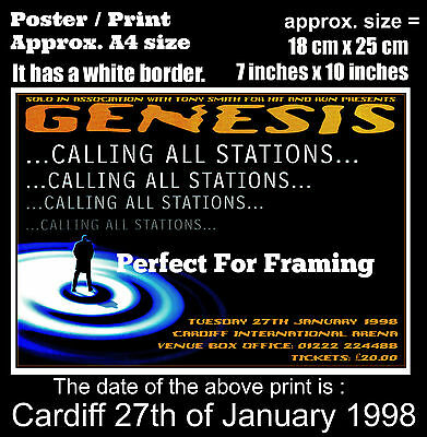 Genesis live concert at Cardiff 27th of January 1998 A4 size poster print
