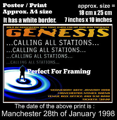 Genesis live concert Manchester NYNEX Arena 28 January 1998 A4 size poster print