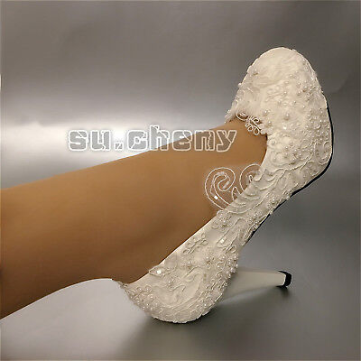 Wedding shoes lace pearl white Bridal flats low heel high heels pumps size 6-10