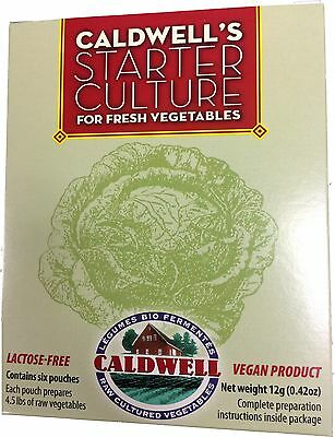 Caldwell's Vegetable Starter Culture Six 6 pouches 12g Fermenting VEGAN LIVE RAW