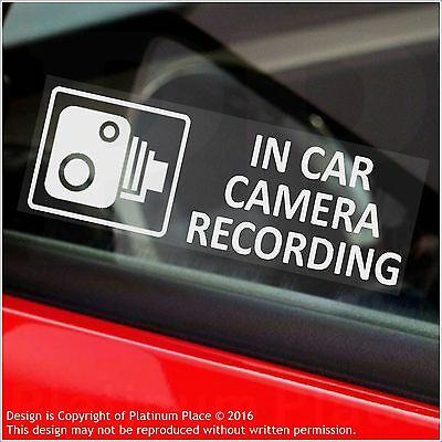 5 x In Car Camera Recording Warning Stickers-CCTV Signs-Go Pro,Dashcam-Taxi,Cab