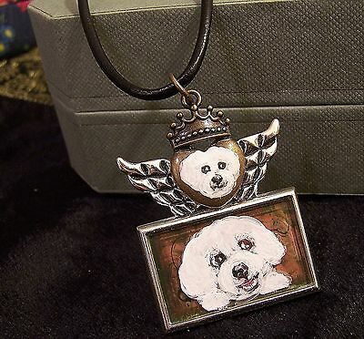 bichon frise hand painted silvertone wing crown love pendant necklace