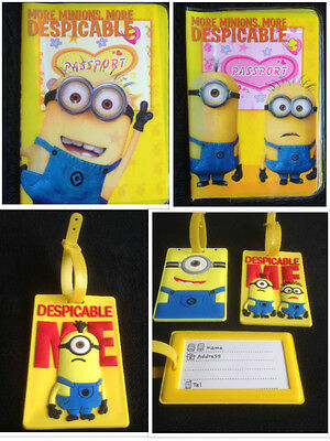 MINIONS DESPICABLE ME Childrens Kids Passport Cover  Holder  Luggage Label Tag