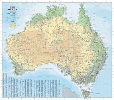 (Laminated) Map Of Australia (Road & Terrain) Poster (87X100Cm) Wall Chart Pic