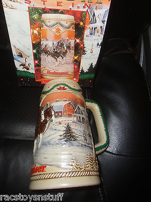 """1996 BUDWEISER HOLIDAY STEIN, NEW IN BOX,  6 3/4"""" TALL."""