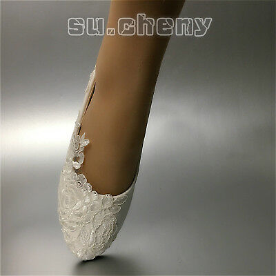 White lace satin strap Wedding shoes pearl Bridal flats low high heels size 6-10