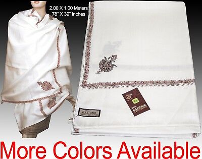 100% Pure Wool Hand Embroidered Indian Kashmir Shawl Wrap Scarf Various Colours