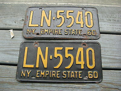 1960 60 New York Ny Passenger  License Plate Tag Buy It Now Pair