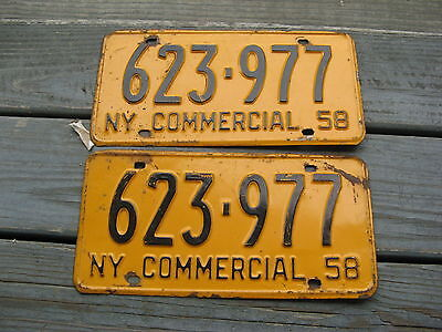 1958 58 New York Ny Commercial Com  License Plate Tag Buy It Now Pair