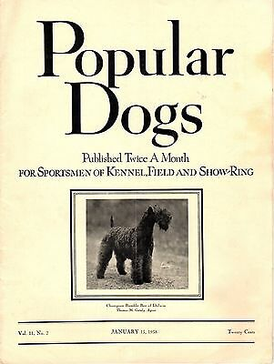 Vintage Popular Dogs Magazine January 15, 1938 Kerry Blue Terrier Cover