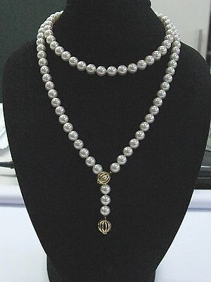 "Mikimoto 18Kt Cultured Pearls 7.7mm-8.0mm 38"" Strand Necklace + Earrings"