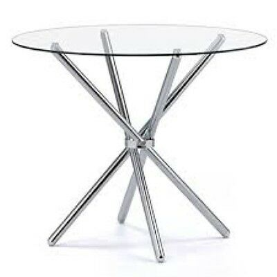 Casa Glass Round Dining Table with Chrome Legs  - Toughened Glass and Metal