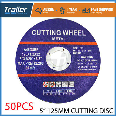 50 x 5'' 125mm x 1mm CUTTING DISC WHEEL ANGLE GRINDER CUT METAL STEEL STRIP FLAP