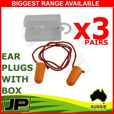 3 Pairs Disposable Foam Ear Plug Noise Reducer Corded Individual Box