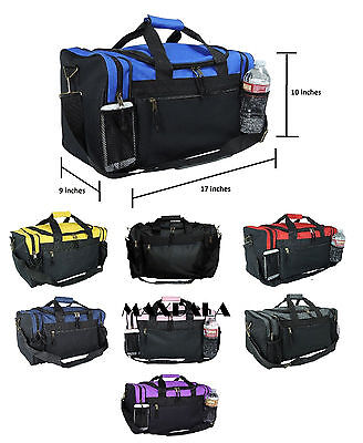 Duffle Duffel Bag Sport Travel Carry-On Workout Gym Red Black Blue Gold Gray 17""