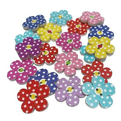 50 20mm WOODEN POLKA DOT FLOWER BUTTONS - MIXED COLOURS - CRAFT - SEWING - CARDS