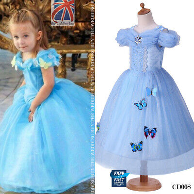 UK Cinderella Gown Kids Girls Princess Butterfly Costume Dress 4-9 years CD008