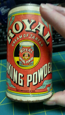Royal Baking Powder Tin - 12 oz - tin is empty but has lid - recipes on label