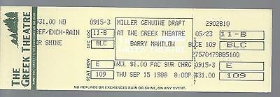 1988 Barry Manilow Full Unused Concert Ticket @ Greek Theatre