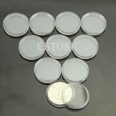 10pcs  24mm Applied Clear Round Cases Coin Storage Capsules Holder Round Plastic