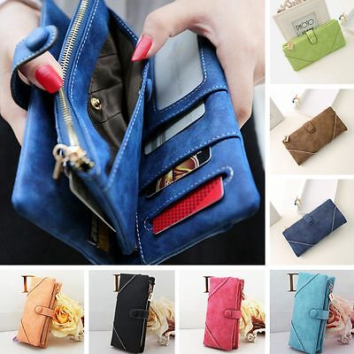 Women Fashion Leather Wallet Button Clutch Purse Lady Long Card Case Handbag Bag
