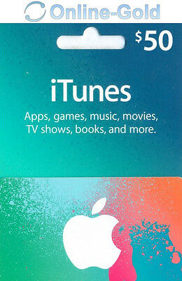 $50 US Dollar iTunes Gift Card- 50 USD Apple Store Code USA American Prepaid Key