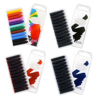 Thornton's Short Standard Fountain Pen Ink Cartridges, 12/Pack (Choice of Color)