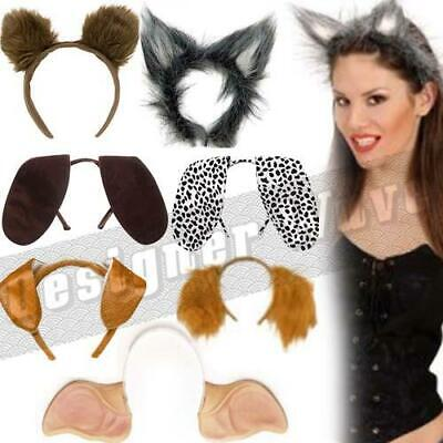 Animal Headbands Fluffy Ears Floppy Kids Adults Fancy Dress Dog Cat Wolf Bear