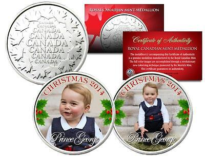PRINCE GEORGE CAMBRIDGE *CHRISTMAS* Set of 2 Royal Canadian Mint Medallion Coins