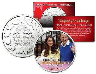 PRINCESS CHARLOTTE Colorized Royal Canadian Mint Coin Medallion - William & Kate