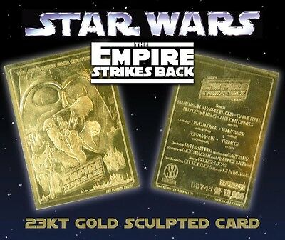 STAR WARS Empire Strikes Back Genuine 23K GOLD CARD * $7.95 Officially Licensed