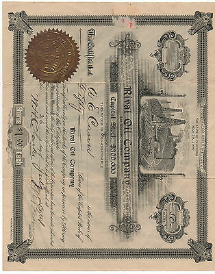 1901 Stock Certificate from the Rival Oil Company of California