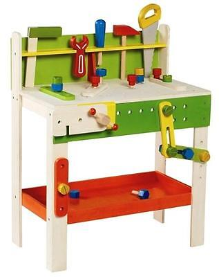 NEW Childrens Large Wooden Carpenters Work Bench with Play Tools