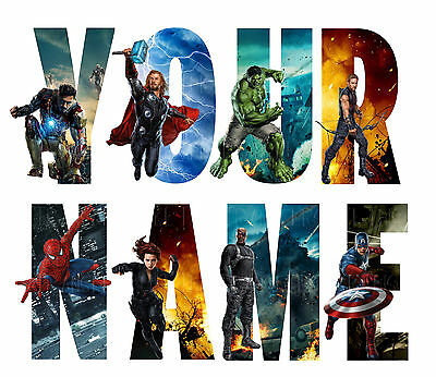 MARVEL AVENGERS LETTER NAME STICKERS WALL DECO DECAL 3 SIZES PERSONALISED lot CH