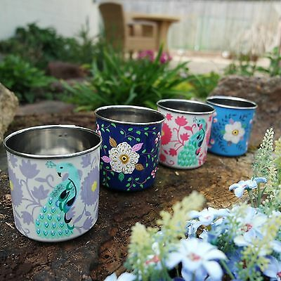 Hand Painted Floral & Peacock Enamel Mugs Pink & Lilac Camping Festivals Garden