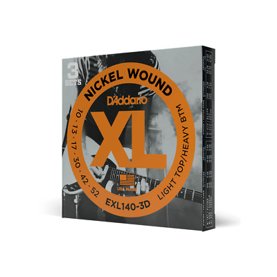 D'Addario EXL140-3D Electric Guitar Strings 10-52 (3 Set Pack)