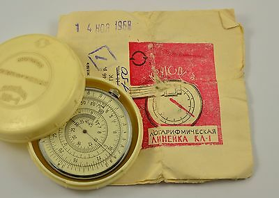 VINTAGE RUSSIAN KL-1 LOGARITHMIC MATHEMATICAL CIRCULAR SLIDE RULE WITH BOX -1968