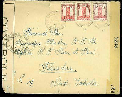 Rare 1944 Censored Cover Fes-Ville Nouvelle Morocco to Flasher ND  AB73