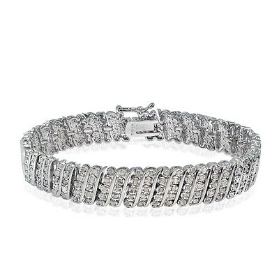 1.00ct TDW Natural Diamond Wave Tennis Bracelet in Gold or Silver Plated Brass