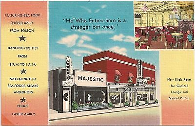 Majestic Hotel and Restaurant in Lake Placid NY Postcard