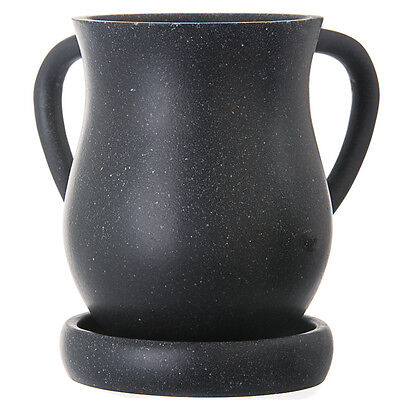 """Wash Cup Black Poly & Resin With Tray 6.125"""" x 6.625"""", tray: 5.0"""""""